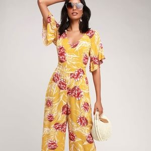 Lulus Flounce Sleeve Jumpsuit Yellow Floral Small